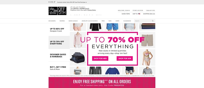 Saks Off 5th homepage