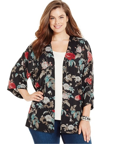 Style & Co. Plus Size Floral-Print Kimono Cardigan