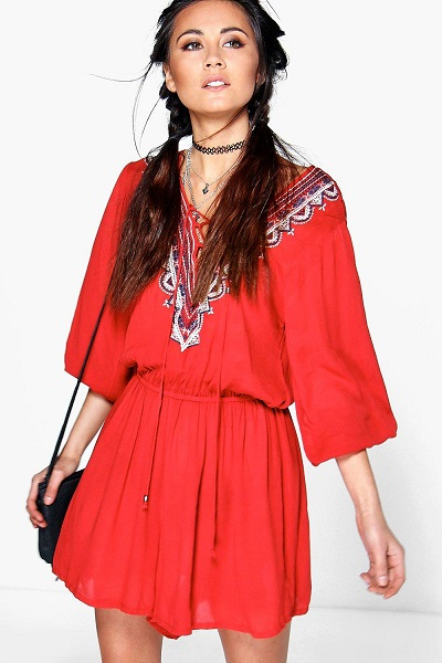 Red Kira Embroidered Playsuit