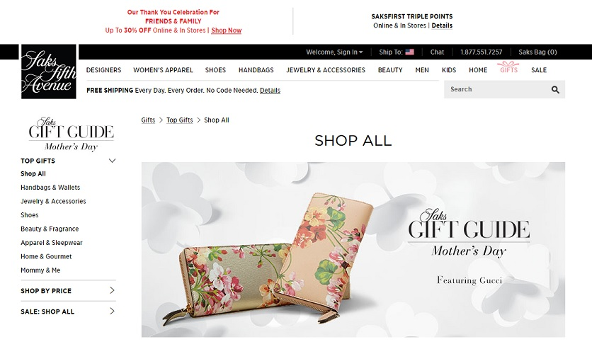 Saks Fifth Avenue Mother's Day gift guide