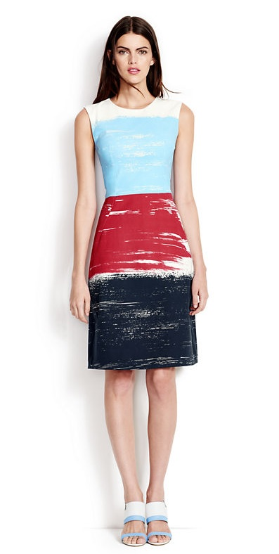 Sleeveless a-line dress brushstroke print