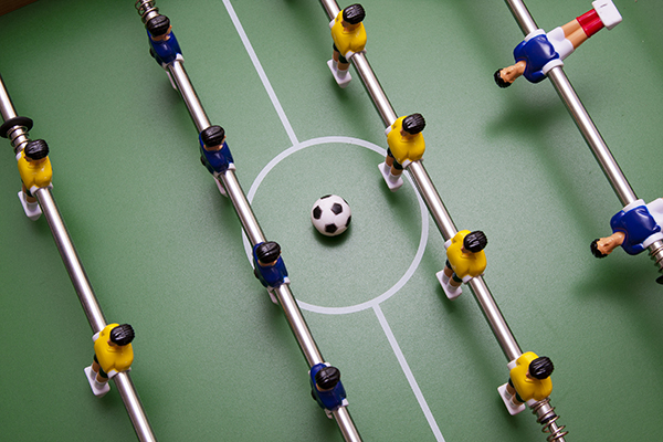 Close up shot of foosball table