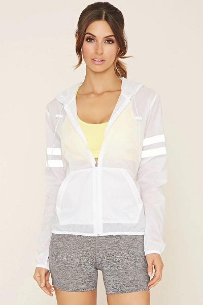 Mesh striped white activewear jacket