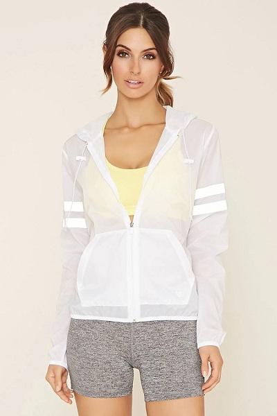 Mesh striped white activewear jacket