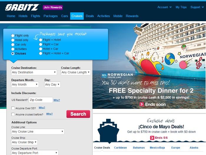 Orbitz.com homepage