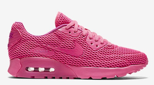 Hot pink Nike air max 90 ultra breathe athletic shoes