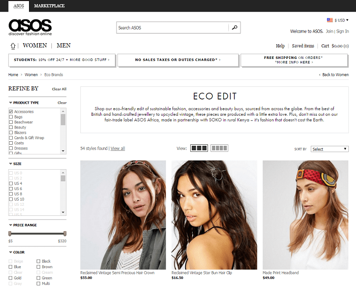 Asos eco edit eco-friendly products