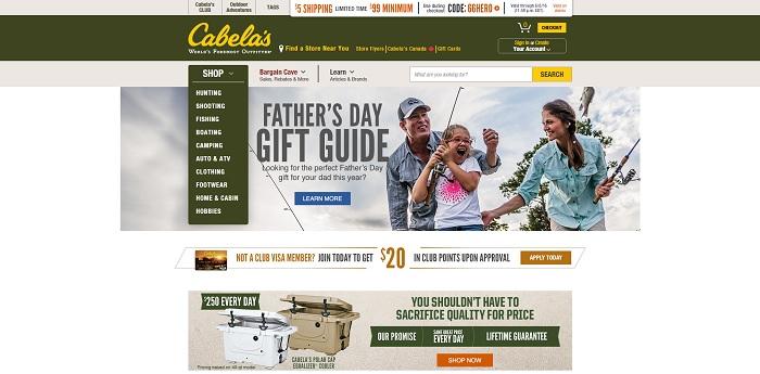 Cabelas.com homepage