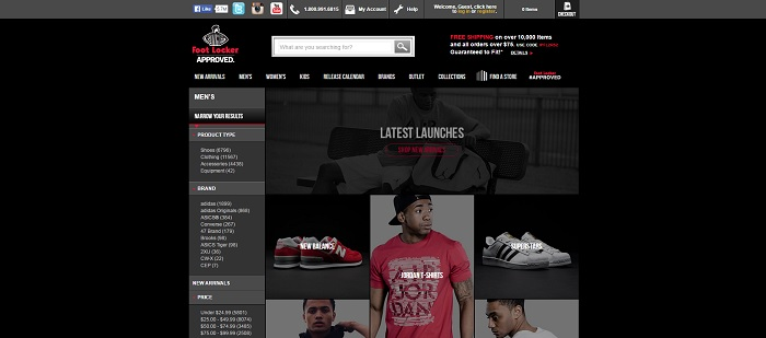Footlocker.com homepage