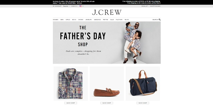 J.Crew homepage