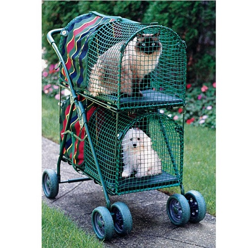 Double decker pet dog and cat stroller