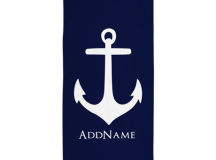 navy blue anchor personalized beach towel