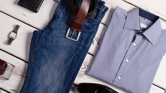 Overhead shot of men's clothing and accessories