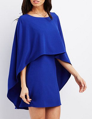 Cape dress in cobalt