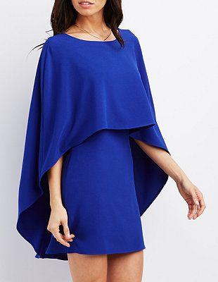 Cape dress in cobalt
