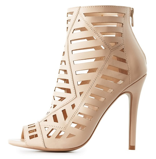 Laser Cut Nude Peep Toe Booties