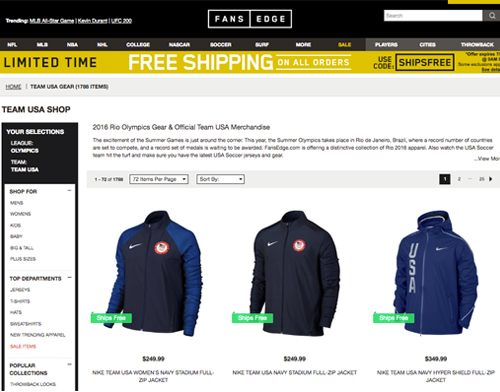 FansEdge Team USA gear