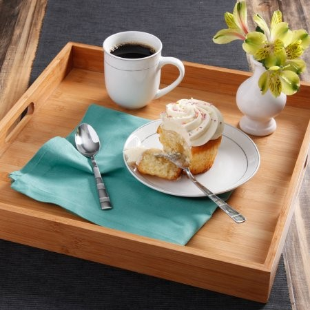Serving tray with cupcake and coffee