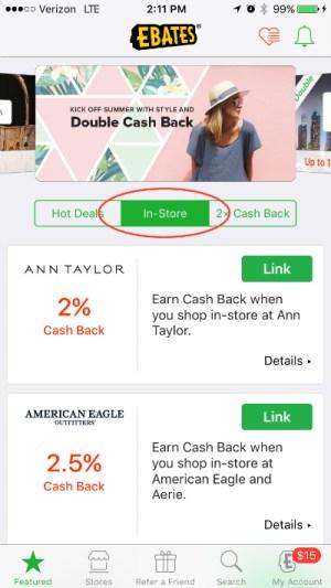 Ebates In-Store Cash Back App