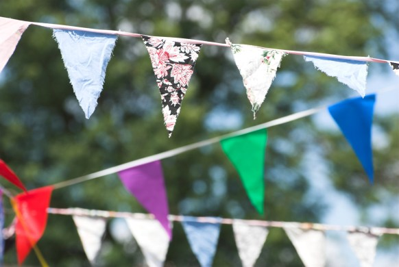 Bunting at an outdoor summer party