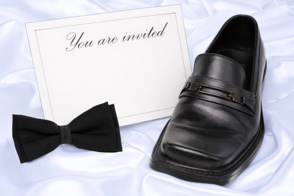 Bow tie, card, and dress shoe
