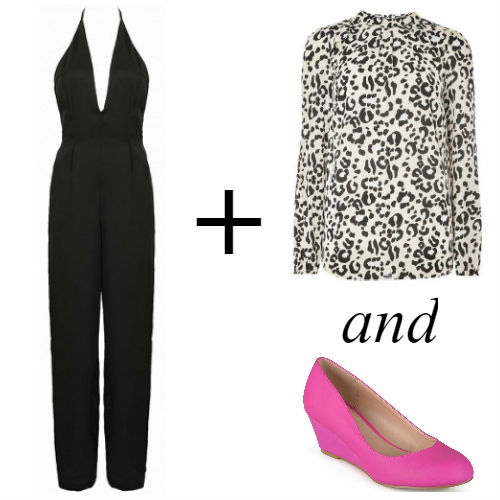 Jumpsuit with animal print blouse and pink wedges