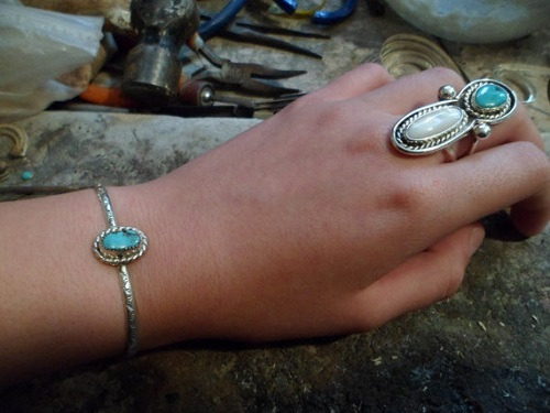 Turquoise bracelet and ring set