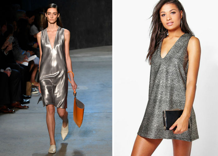 EVA METALLIC PLUNGE NECK SHIFT DRESS