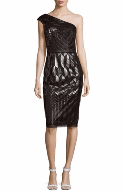 David Meister Patterned One-Shoulder Dress