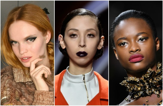 Runway models wearing fall makeup trends