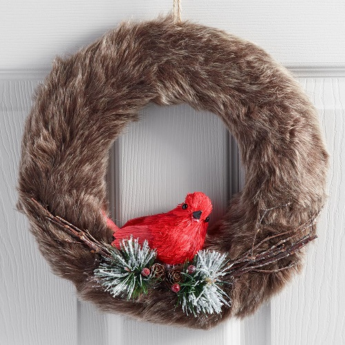 Gray Faux Fur Wreath with Cardinal