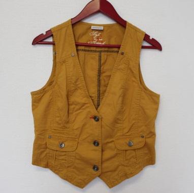 Mustard yellow womens denim vest