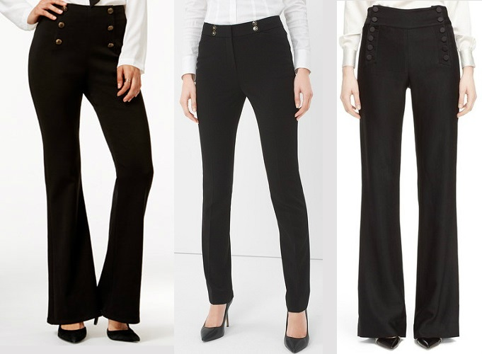 Black women's sailor pants