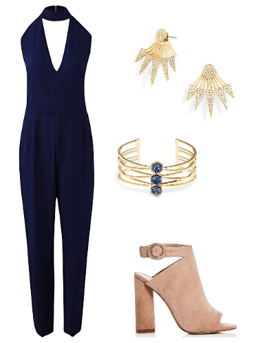 Plus size jumpsuit, booties, earrings, and cuff bracelet