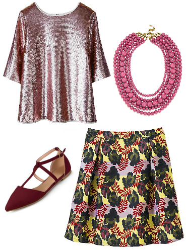 Plus size sequin top, floral skirt, t-strap flats
