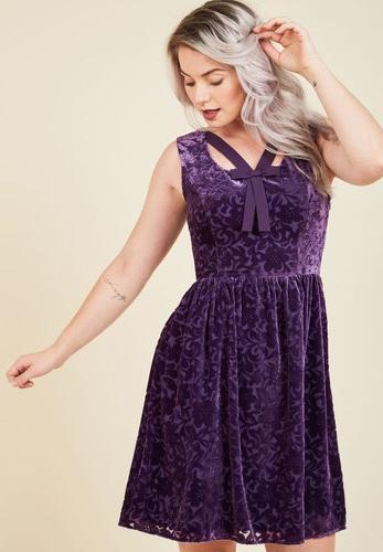 Purple velvet party dress