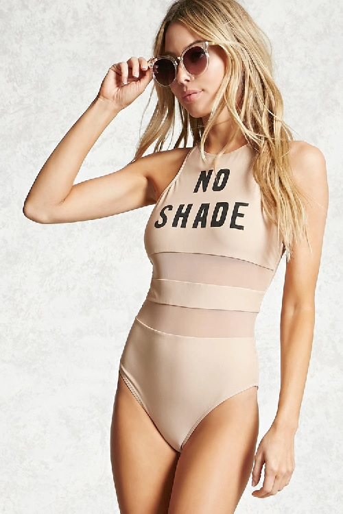 No Shade Mesh Panels one Piece Swimsuit