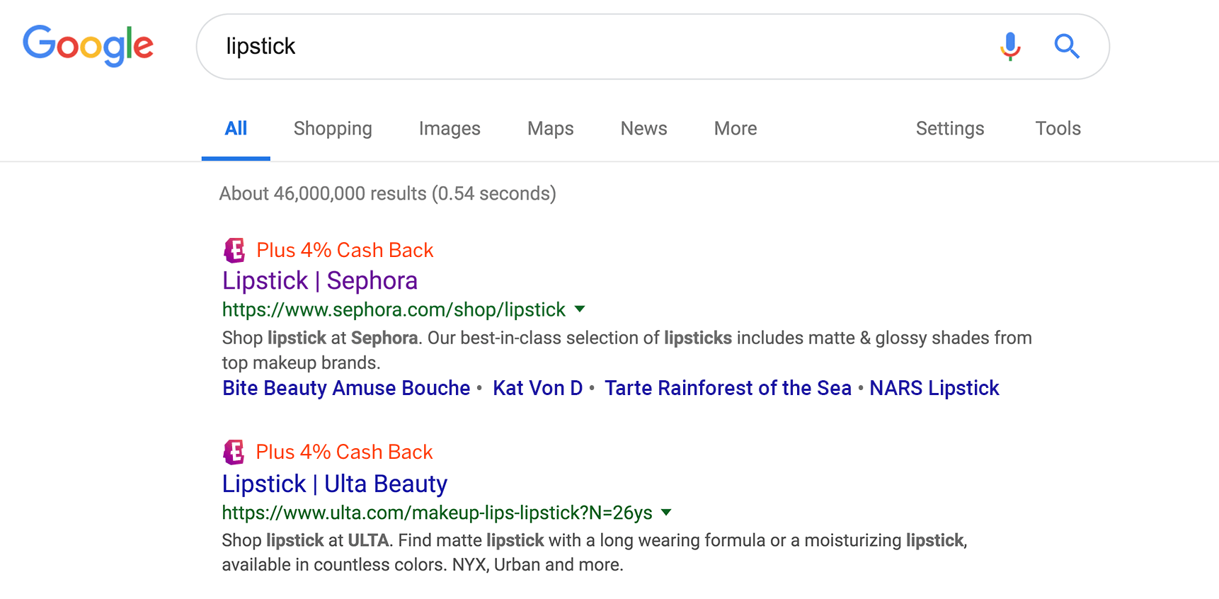"Google search results for ""lipstick"""