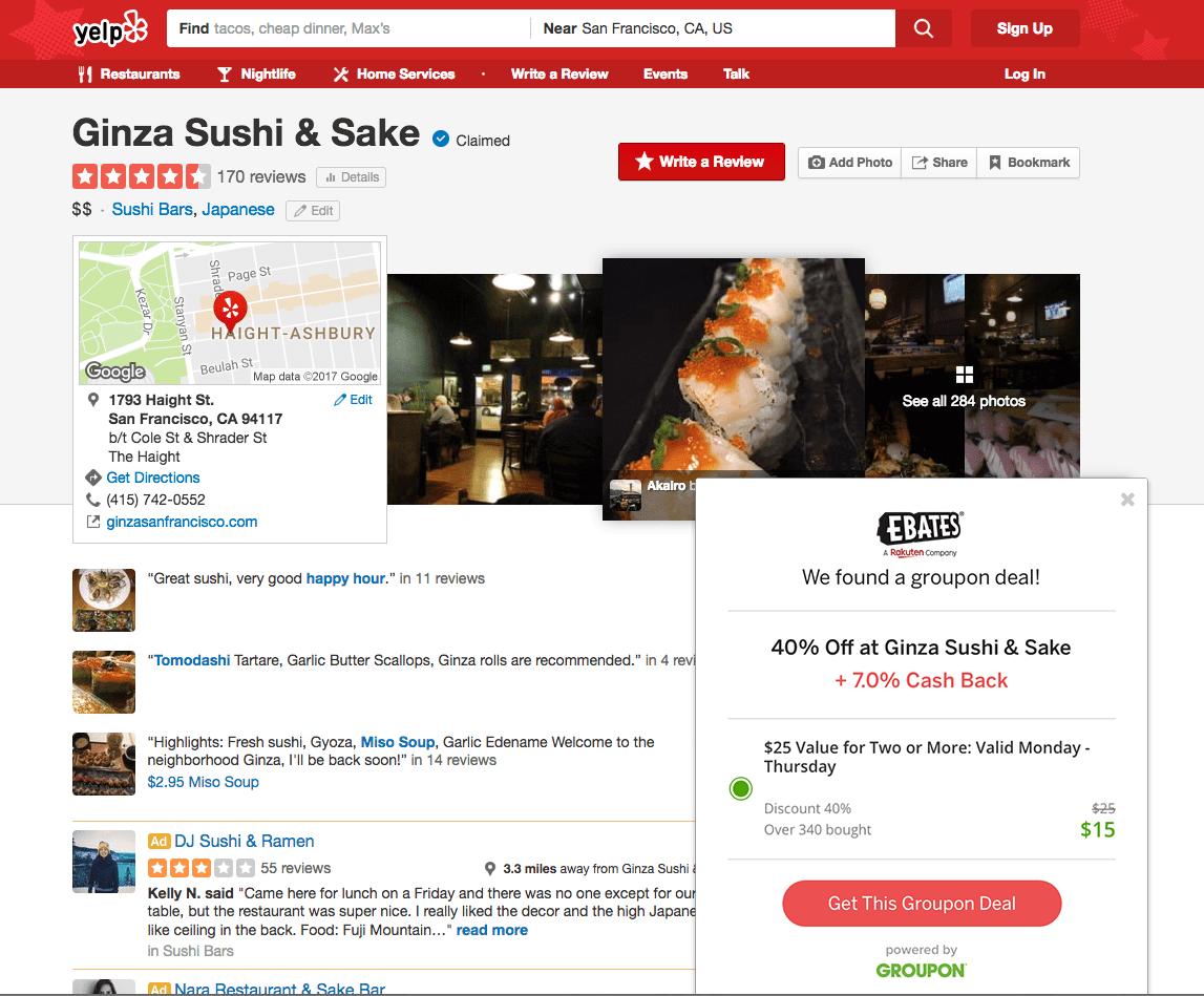 Yelp page for Ginza Sushi & Sake