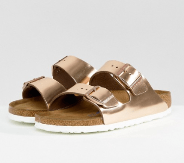 Birkenstock Arizona Copper Leather Flat Sandals