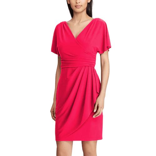 Chaps Pleated Faux-Wrap Dress