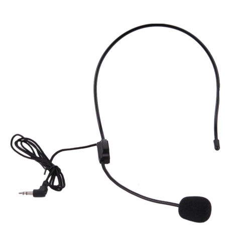 3.5mm Dual Ear Head Headset Mic Phone Headworn Microphone
