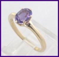 14k Yellow Gold Oval Purple Amethyst Solitaire Gemstone ...