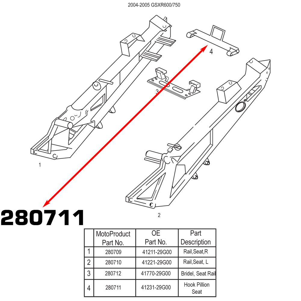 MOTOBRACKETS SUZUKI SUBFRAME PILLION SEAT HOOK 04 05 2004