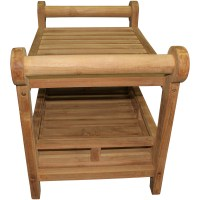 Large Teak Rectangular Shower Seat with Handles