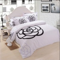 chanel bedding set black and white