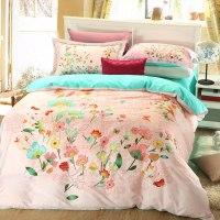 Elegant style Light Pink floral print bedding set ...