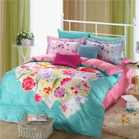 Light Blue and pink beautiful floral bedding set ...
