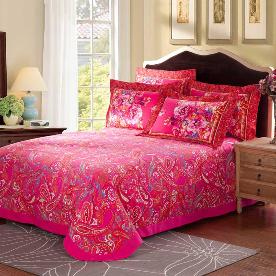 Charming Light Pink And Black Floral Cotton Bedding Set