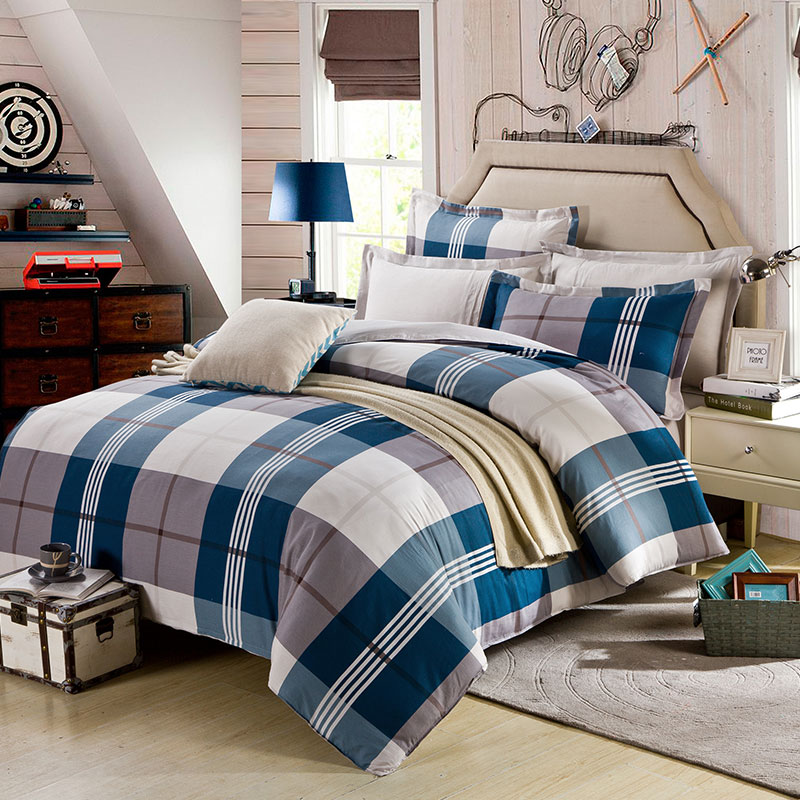 sofa set covers how to get rid of bed aesthetic white and steel grey checks cotton bedding ...